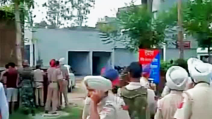 Security forces at the place of the attack. (Courtesy: ANI)