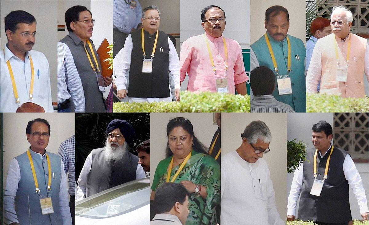 From left in the top row: Chief Ministers Arvind Kejriwal, Pawan Chamling, Raman Singh, Laxmikant Parsekar, Raghubar Das, Manohar Lal Khattar; and from left in the bottom row- Shivraj Singh Chouhan, Prakash Singh Badal, Vasundhara Raje, Manik Sarkar  and Devendra Fadnavis after attending the second meeting of NITI Aayog's Governing Council in New Delhi. (Photo: PTI)
