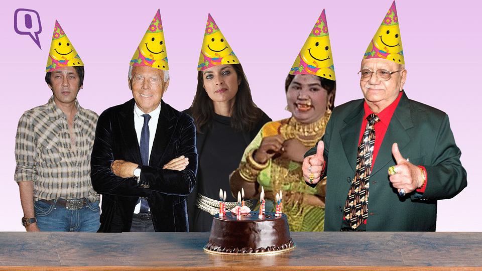 Happy birthday (L-R) Kumar Gaurav, Giorgio Armani,  Jhumpa Lahiri, Tun Tun and Bejan Daruwalla. (Photo: The image has been altered by <i>The Quint</i>)