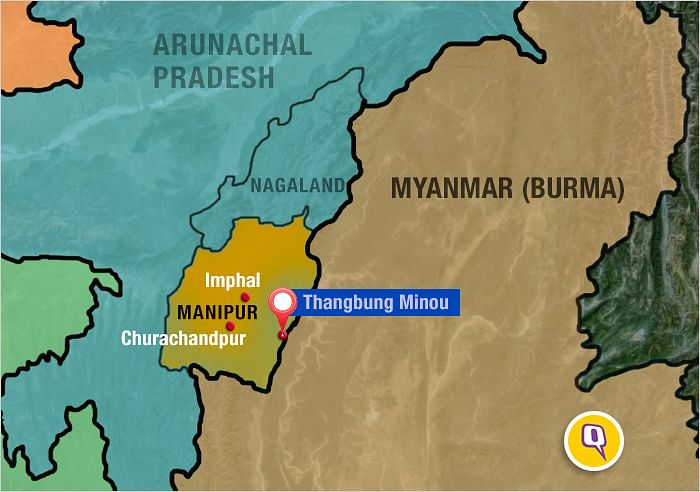 The desertedThangbung Minou is a few kilomteres south of the border town of Moreh near the India-Myanmar border. (Map: Roshan Tamang)