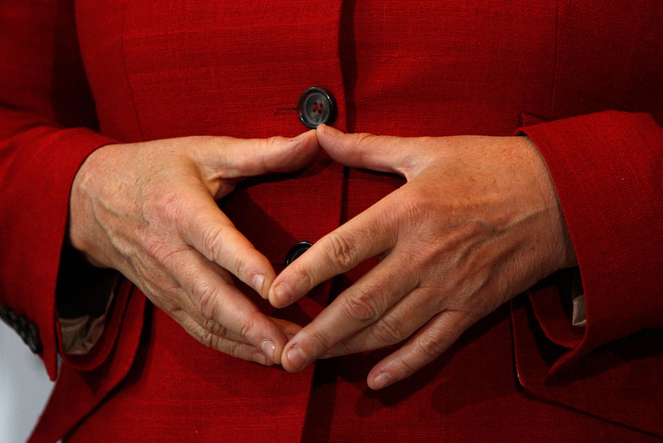 German Chancellor Angela Merkel gestures during the 36th German Cities Council in Stuttgart. (Photo: Reuters)