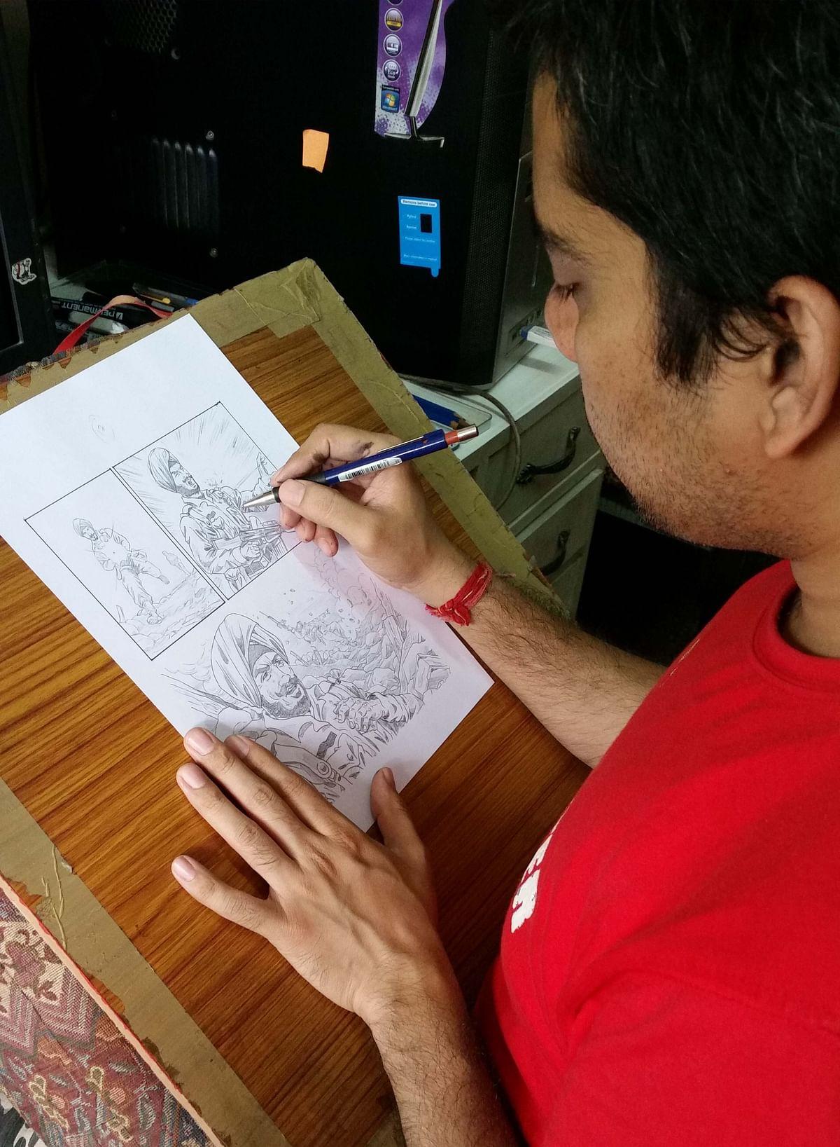 Rishi Kumar, working on his next comic on war hero Subedar Ajit Singh.