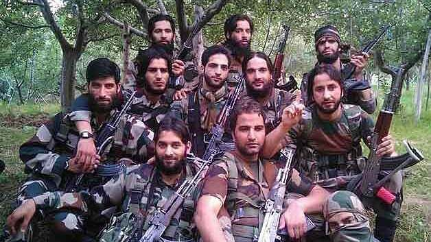 A group photo of Hizb and Lashkar militants clicked at an unknown location that went viral on Facebook recently. Burhan Wani is at centre, head tilted a bit to his left.