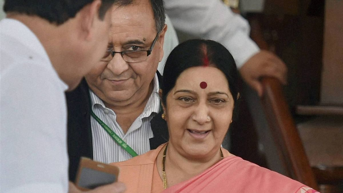 Union External Affairs Minister Sushma Swaraj at Parliament house on the opening day of the Monsoon session in New Delhi on Tuesday.  (Photo: PTI)