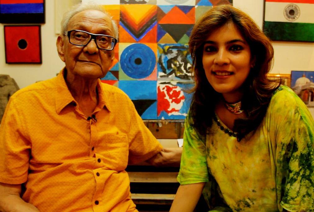 The writer with Raza in his studio. (Photo courtesy: Sahar Zaman)