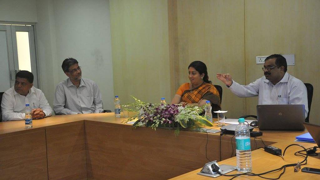 HRD Minister Smriti Irani at IIT Kharagpur campus.(Photo courtesy: Facebook)