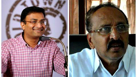 Kozhikode District Collector Prasanth Nair's (Left) social media presence has irked local Congress leader K.C. Abu (Right). (Photo: The News Minute)