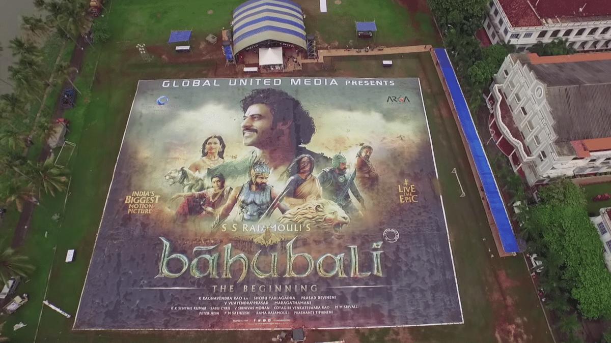 "The world's largest poster for Baahubali (Photo: Youtube/<a href=""https://www.youtube.com/watch?v=wGNgZspKpsI&amp;feature=youtu.be"">globalunitedmedia</a>)"