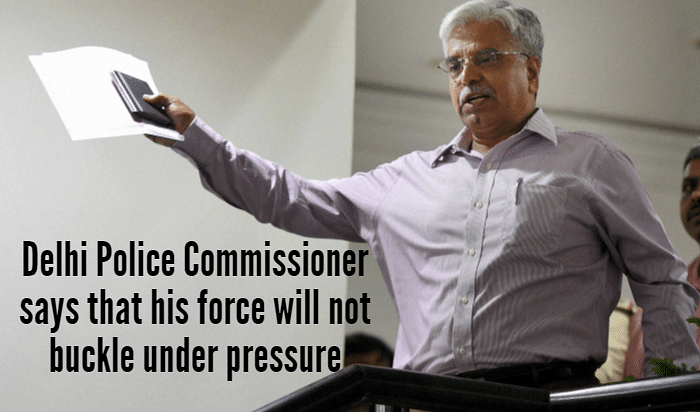 Delhi Police Commissioner BS Bassi gestures after meeting Chief Minister Arvind Kejriwal at the secretariat in New Delhi on July 20. (Photo: PTI)