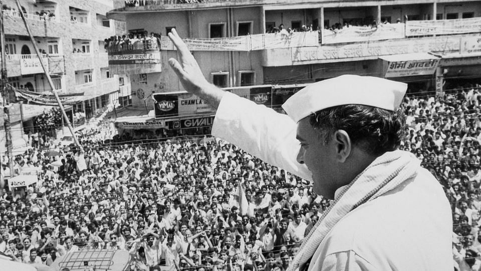 Former PM Rajiv Gandhi at a rally in Uttar Pradesh in 1991. (Photo: Reuters)
