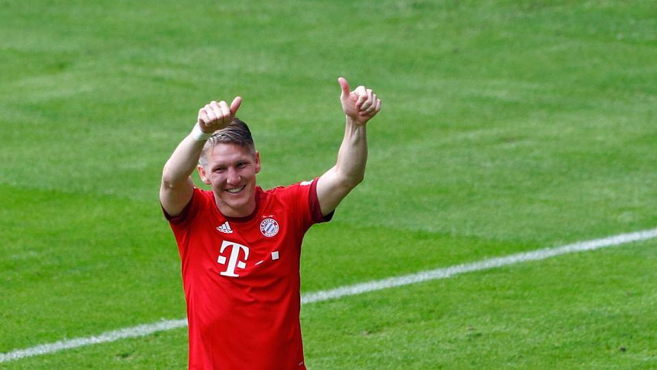 2015Bayern Munich's Bastian Schweinsteiger celebrates after scoring a goal against FSV Mainz 05 during their German first division Bundesliga soccer match in Munich. (Photo: Reuters)