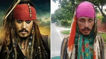 (L) Johnny Depp as Captain Jack Sparrow from Pirates of the Caribbean and (R) the rickshaw puller in Delhi, India.