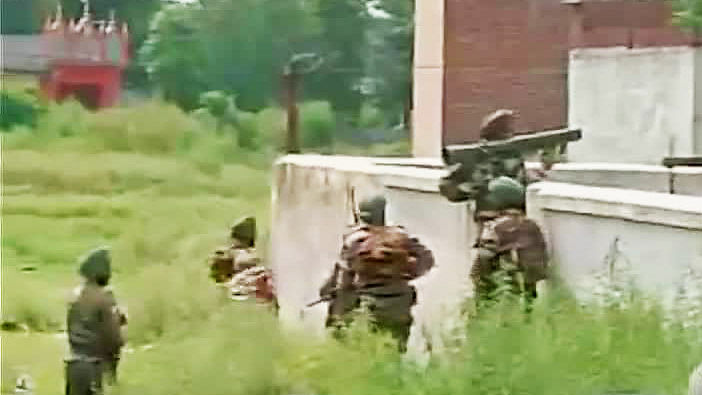 Security forces in Gurdaspur earlier Monday morning. (Courtesy: ANI)