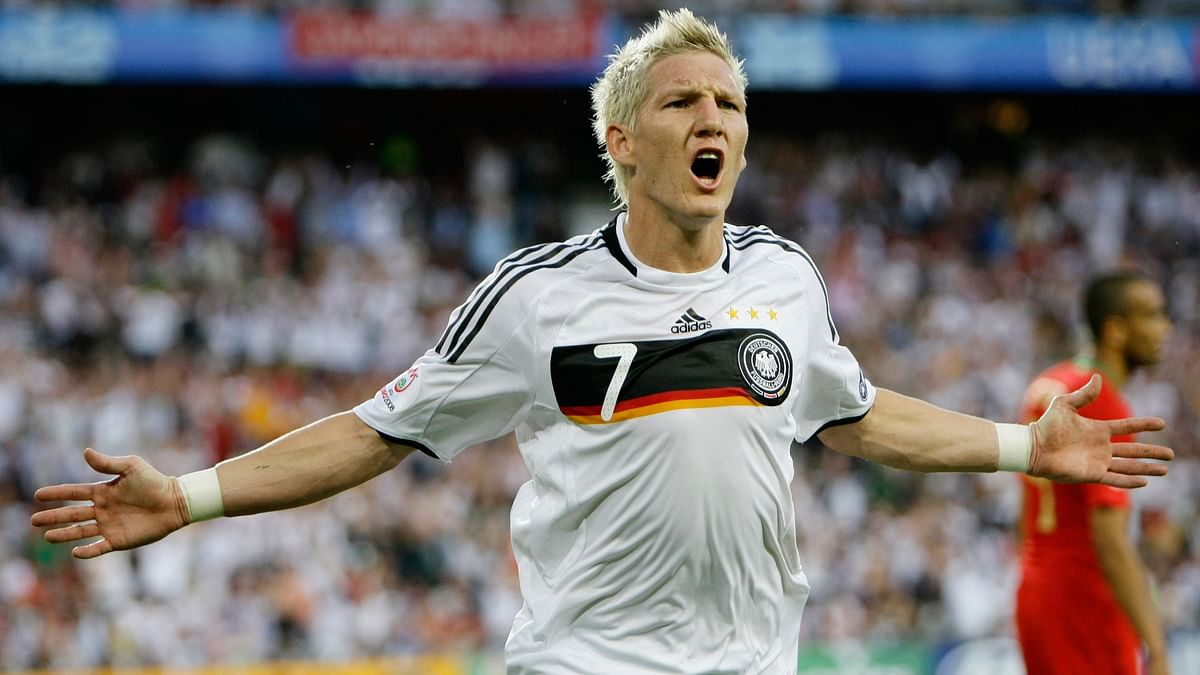 Germany's Bastian Schweinsteiger celebrates his goal during their Euro 2008 quarter-final soccer match against Portugal at St Jakob Park stadium in Basel. (Photo: Reuters)