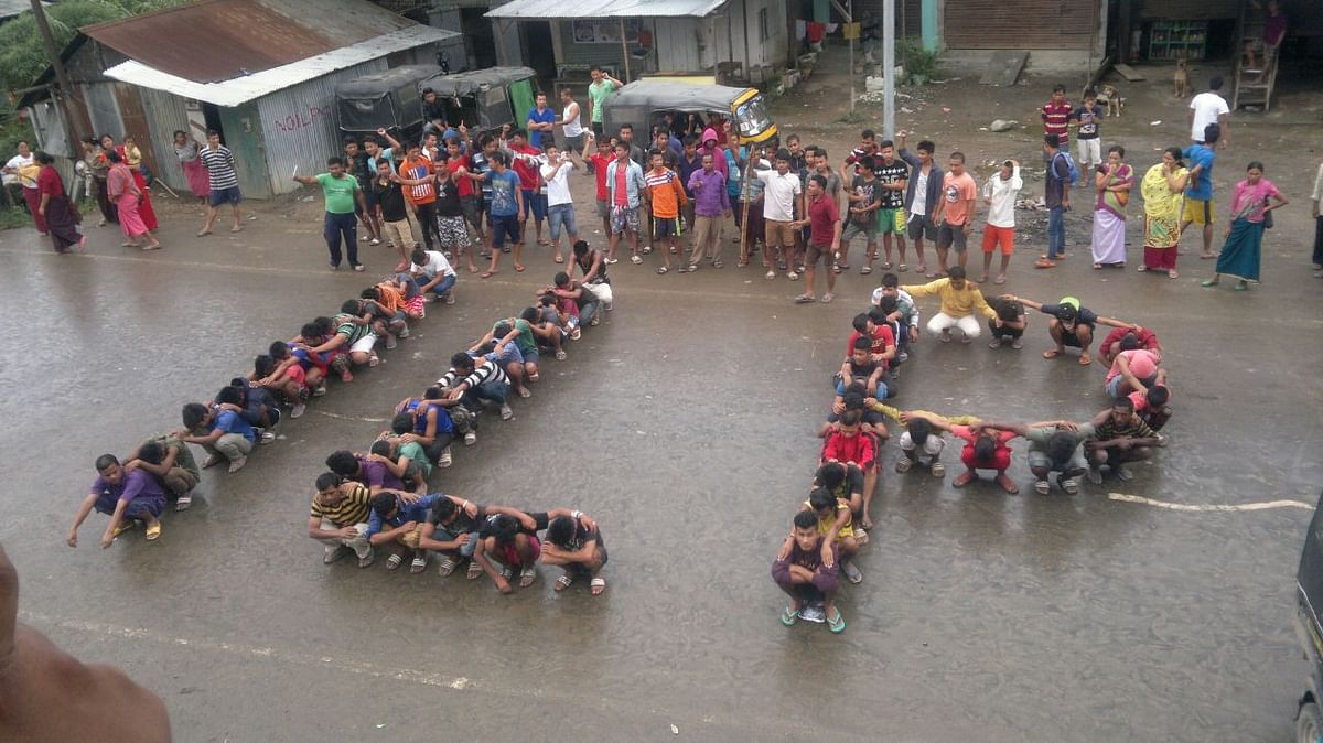 Residents of Imphal spell ILP at a peaceful protest. (Photo: Sunzu Bachaspatimayum)