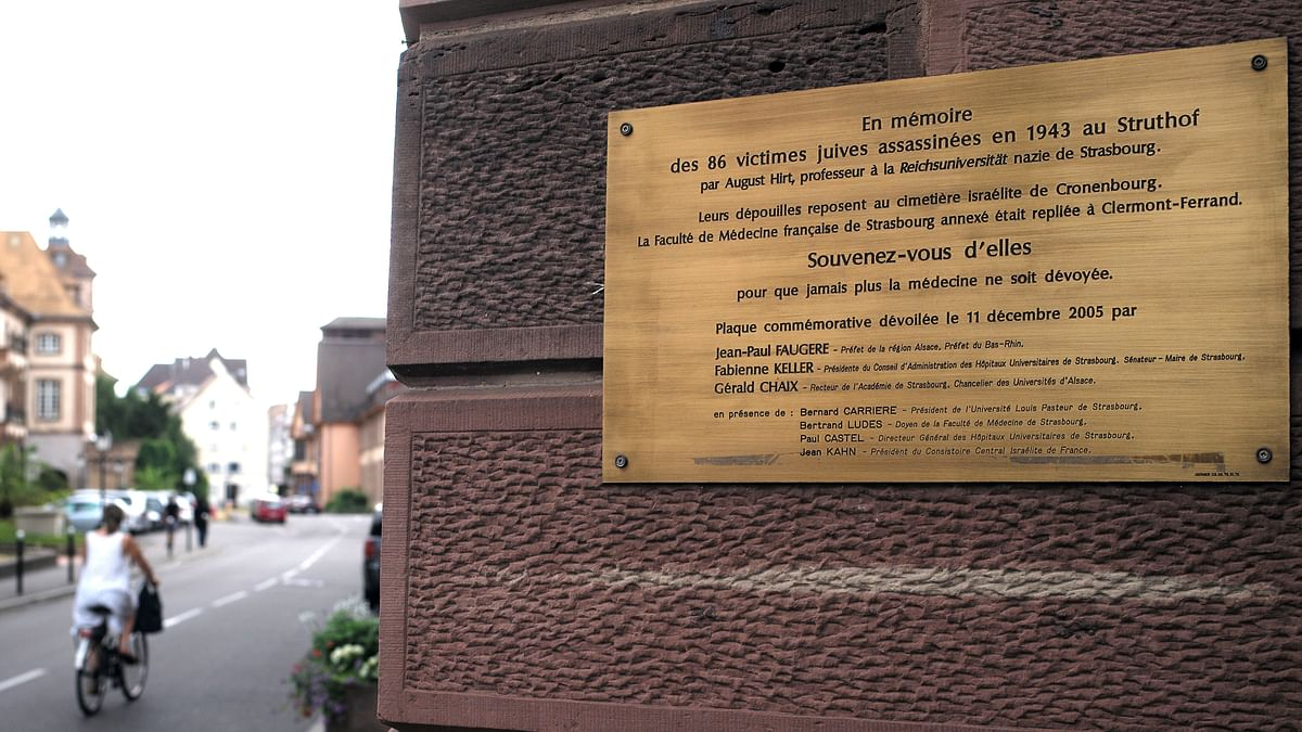A plaque in memory of 86 Jews killed for Nazi medical experiments at the University of Strasbourg during World War II. (Photo: AP)