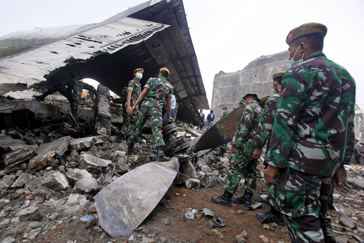 The Hercules C-130 plane crashed into a residential neighborhood in the country's third-largest city on June 30. (Photo: AP)