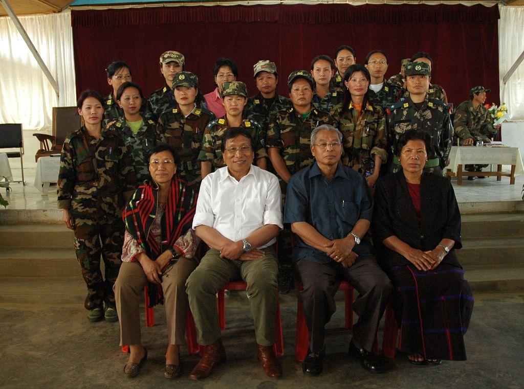 "NSCN(IM) General Secretary Thuingaleng Muivah (in white shirt) and Chairman&nbsp;Isak Chisi Swu along with women Naga rebels. (Photo:<a href=""http://www.nagalimvoice.com/""> nagalimvoice.com</a>)"