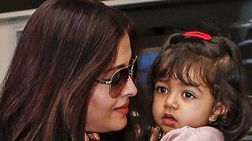 Aishwarya Rai Bachchan with daughter Aaradhya. (Photo: Twitter/ @filmibeat)