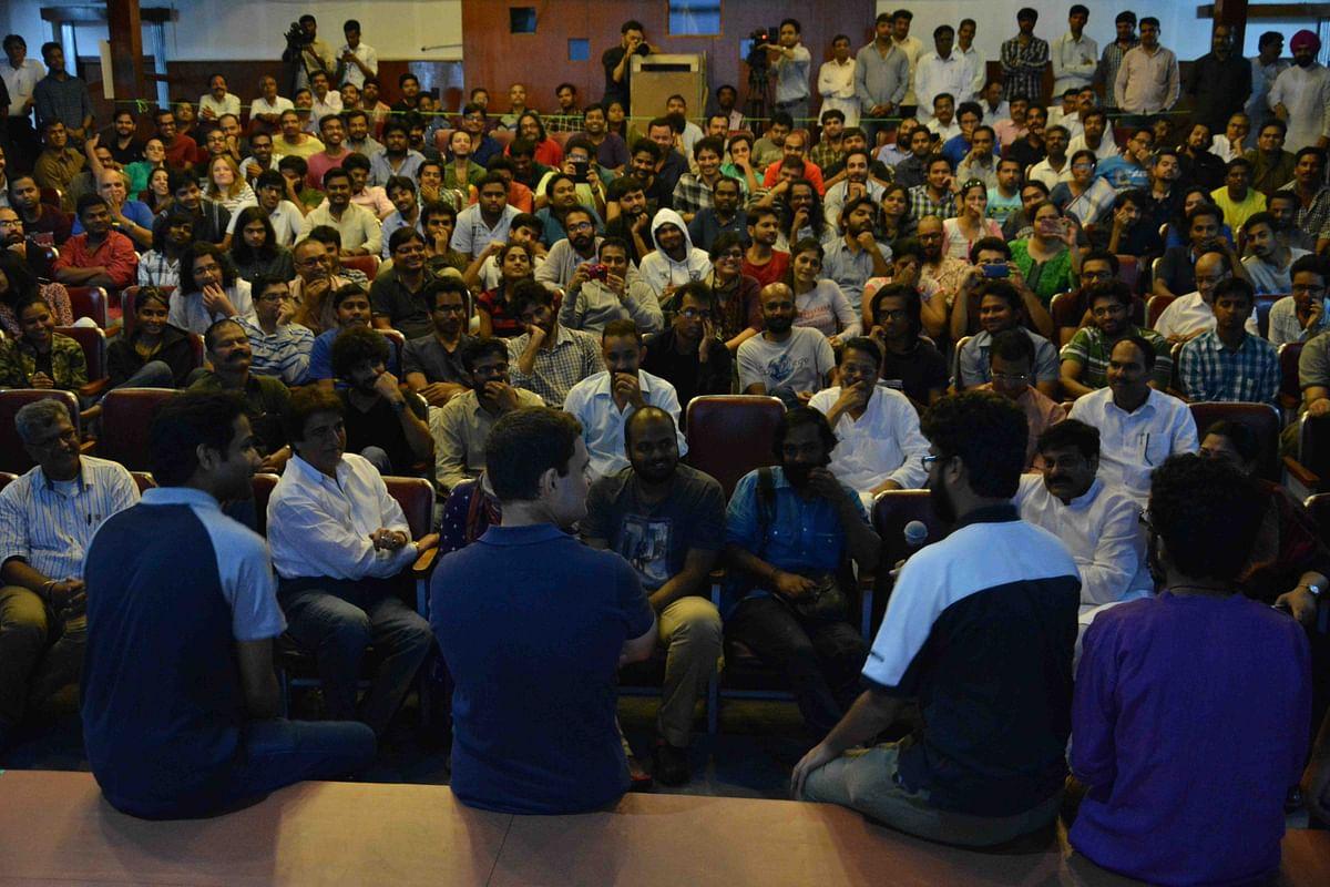 Rahul Gandhi in a packed auditorium at FTII (Photo courtesy: Fatema Kagalwala)