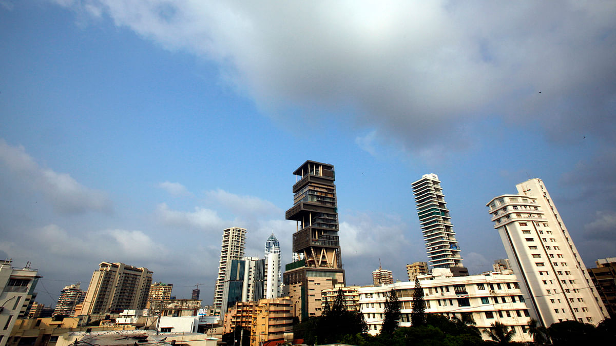 A view of the house of Mukesh Ambani, chairman of Indian energy company Reliance Industries, in Mumbai.