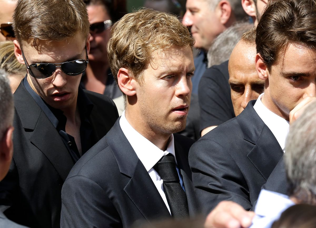 German Formula One driver Sebastian Vettel atthe funeral service. (Photo: AP)