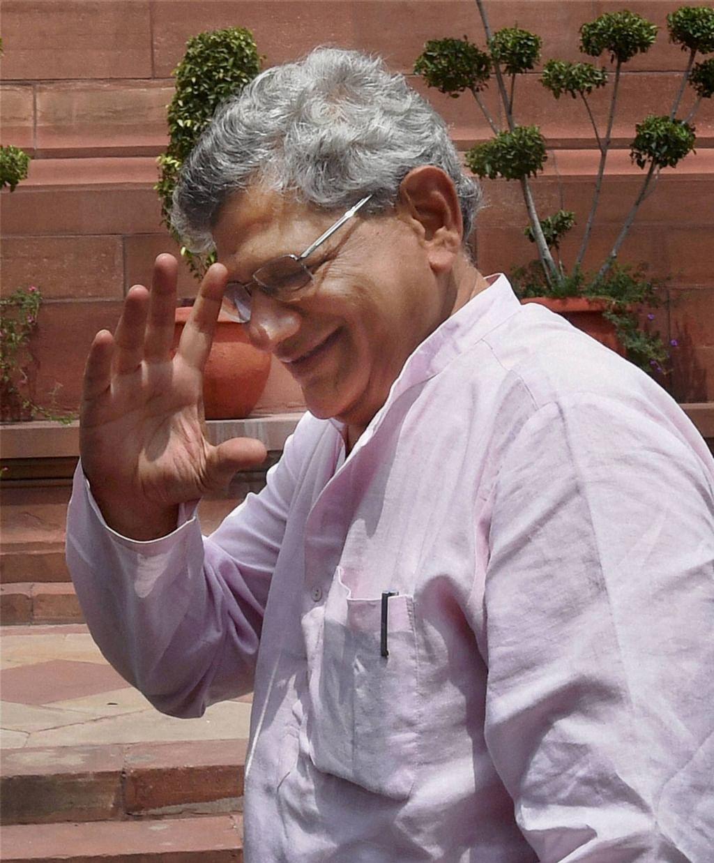 CPI(M) General Secretary Sitaram Yechury arrives for monsoon session. (Photo: PTI)
