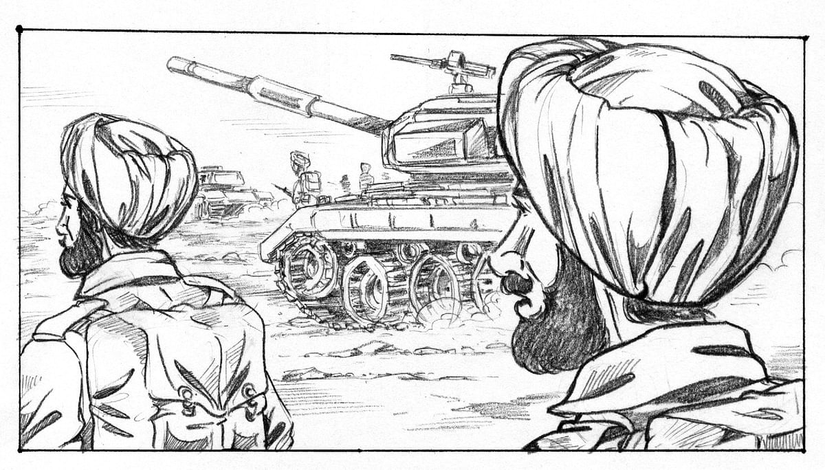 Rishi's comic on Subedar Ajit Singh, a work in progress.