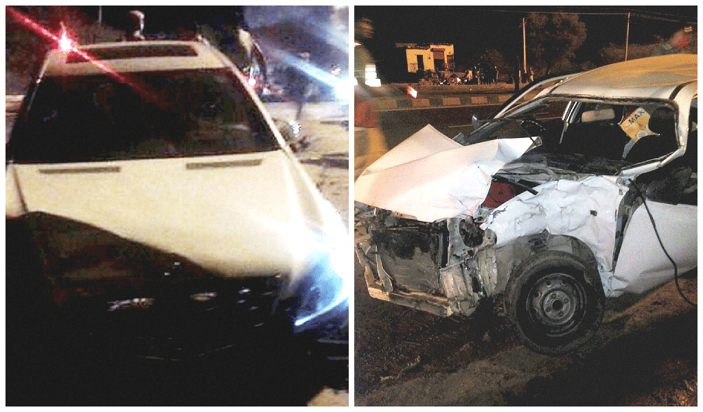 Hema Malini's Mercedes S class (Left) crashed into aMaruti Alto (Right) at an intersection on National Highway 11 on June 3 at 8:50 PM. (Photo: PTI)