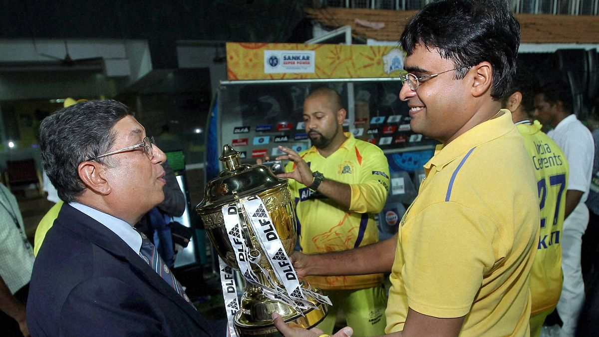 File picture of former Chennai Super Kings' official Gurunath Meiyappan with his father-in-law and N Srinivasan. (Photo: PTI)