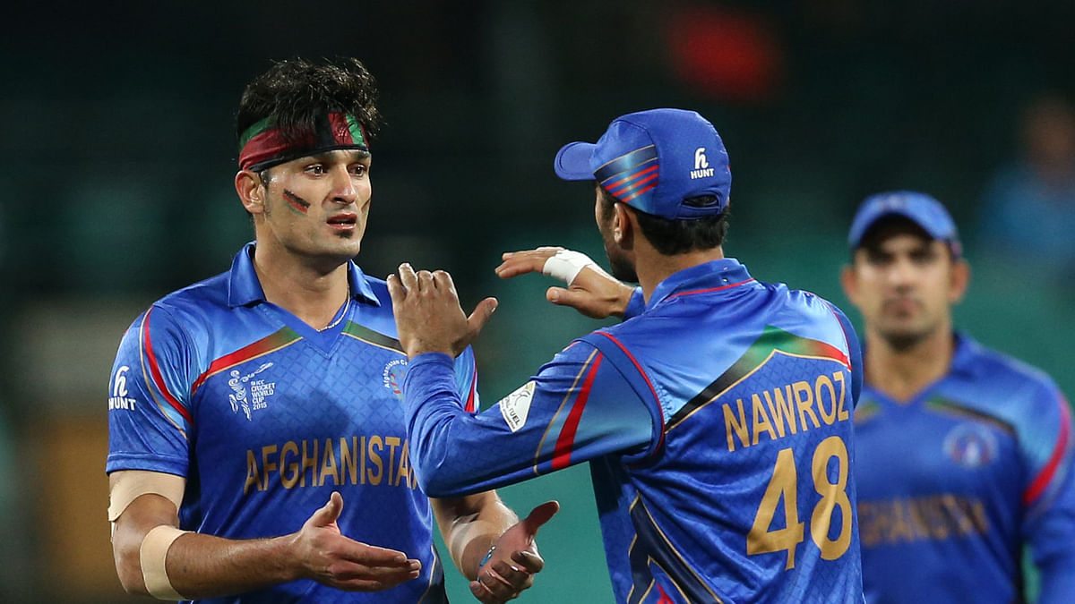 Afghanistan players celebrate a wicket during a 2015 ICC World Cup match thisMarch. (Photo: AP)