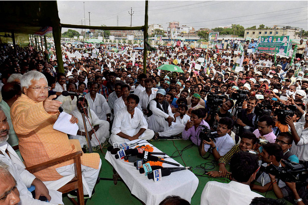 Lalu Prasad Yadav's speeches are punctuated with wit. But will such a style hold him in good stead in the run-up to the assembly polls?(Photo: PTI)