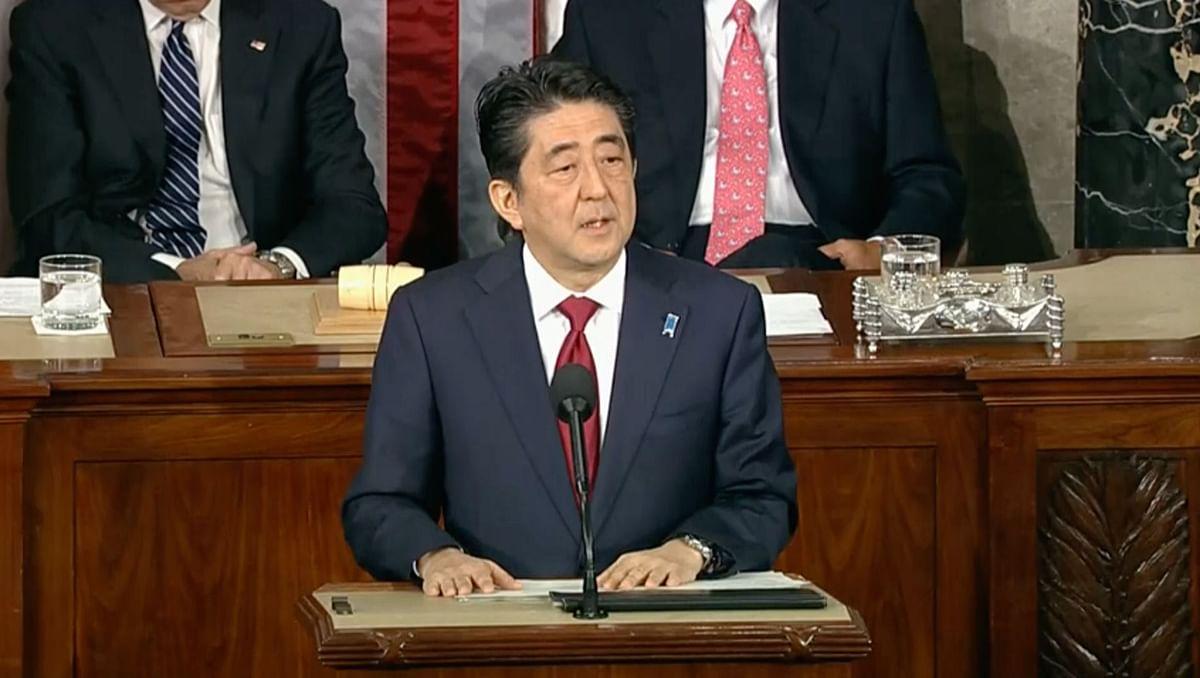 Japanese PM Shinzo Abe addressing the US Congress. (Photo: AP grab)