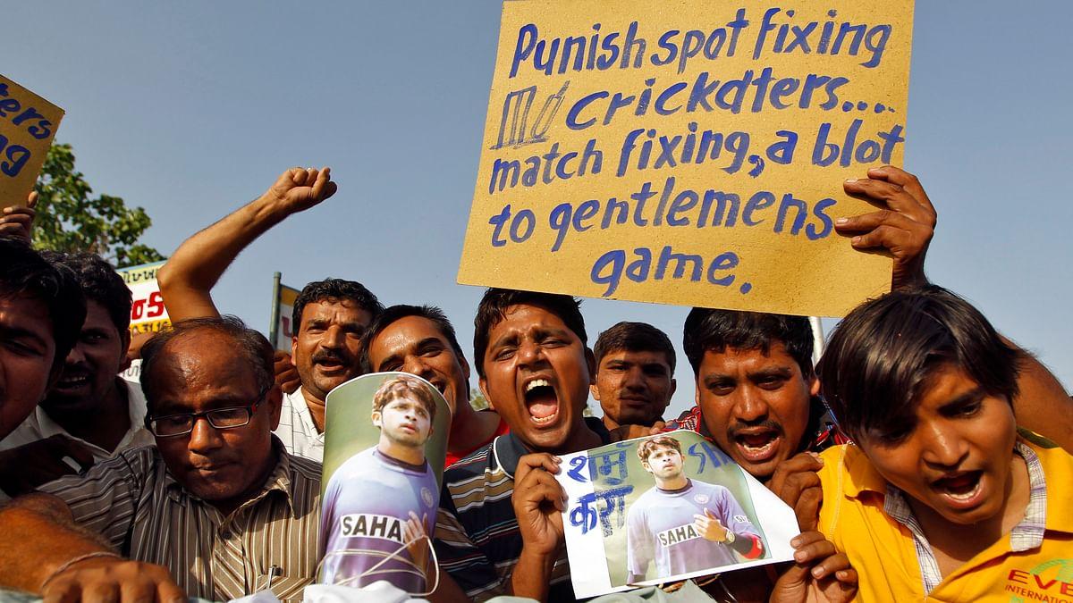 Protests after former India test bowler Shanthakumaran Sreesanth was arrested. (Photo: Reuters)