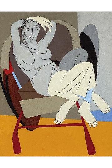 'Rickshaw Puller', a Tyeb Mehta painting.