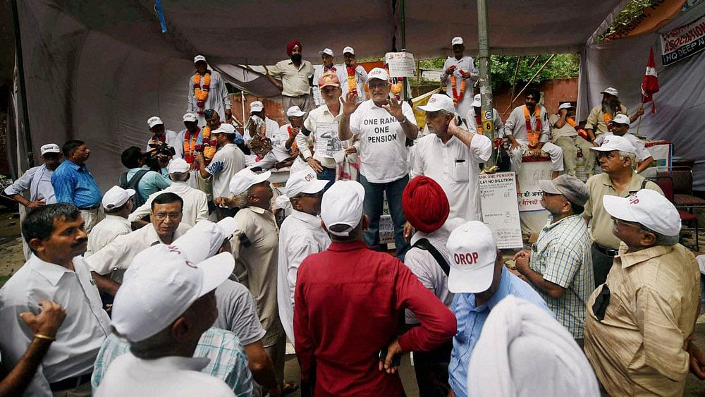 """Ex-servicemen during their agitation for """"One Rank One Pension"""" at Jantar Mantar in New Delhi."""