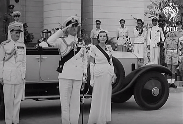 Lord Mountbatten with wife Edwina, saluting as he handed over power (Courtesy: Youtube.com/BritishPathe)