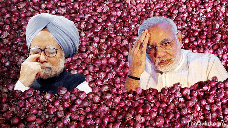 No Indian politician will ever mess with the onion. (This photo has been altered by <i>The Quint</i>)
