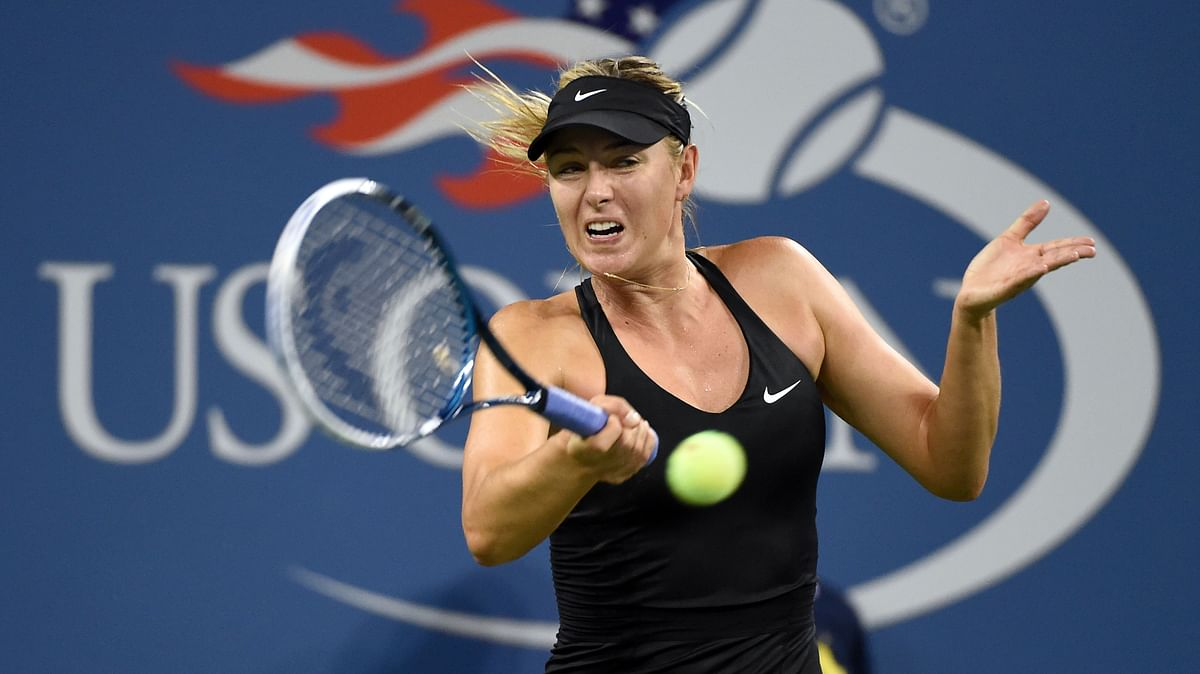Maria Sharapova plays a forehand in the first round of the US Open in 2014. (Photo: Reuters)