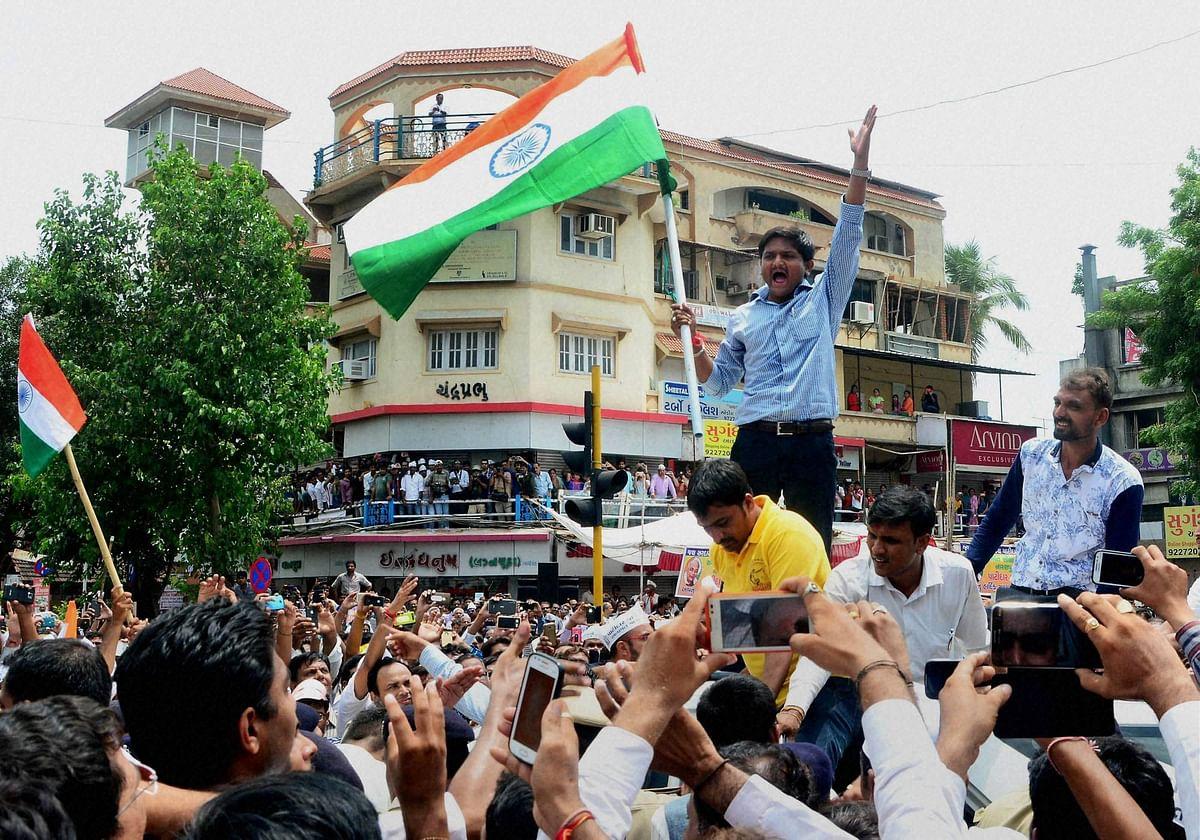 Hardik Patel, convener of Patidar Anamat Andolan Samiti, during an agitation in Gujarat. (Photo: PTI)