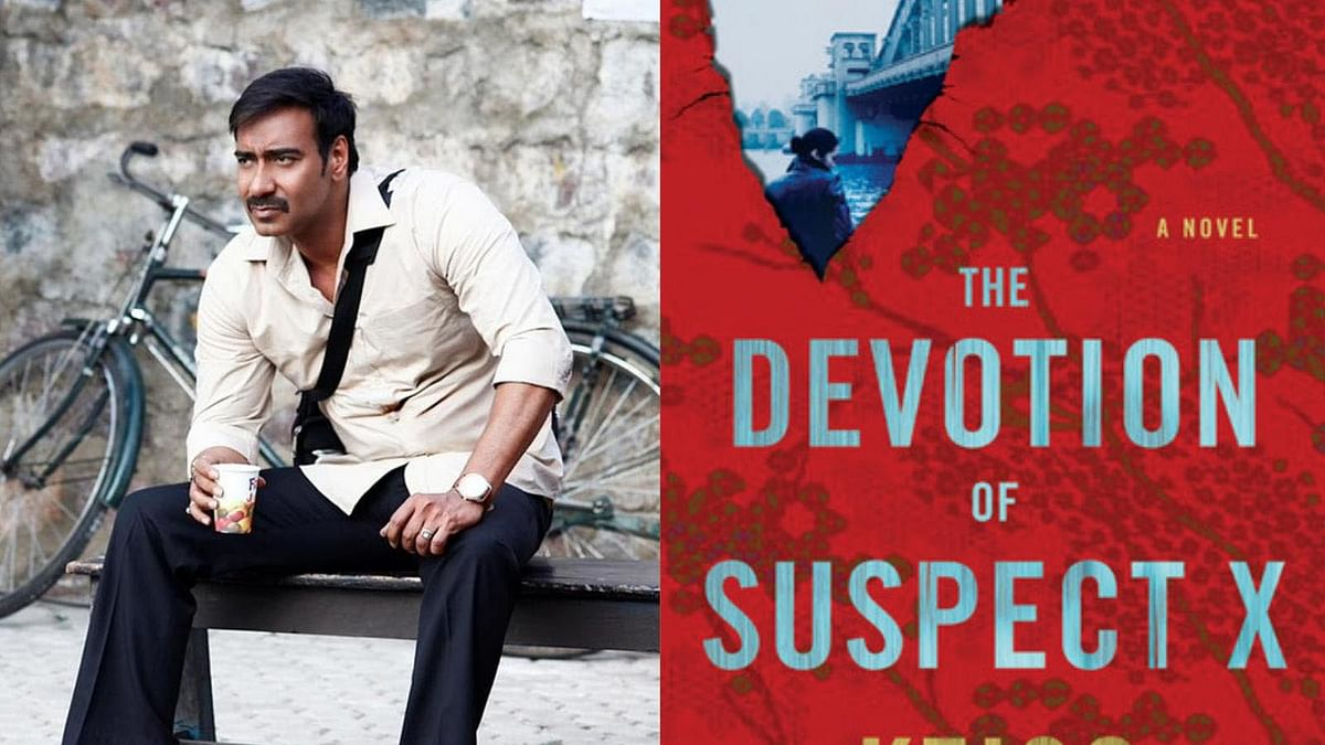 Ajay Devgn in <i>Drishyam </i>and the book cover of <i>The Devotion of Suspect X</i>