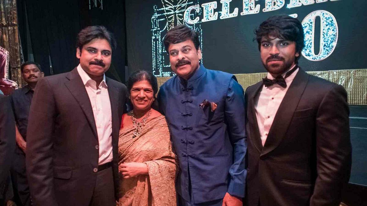 Pawan Kalyan (Chiranjeevi's brother), Ram Charan (Chiranjeevi's son) with Chiranjeevi and his wife.
