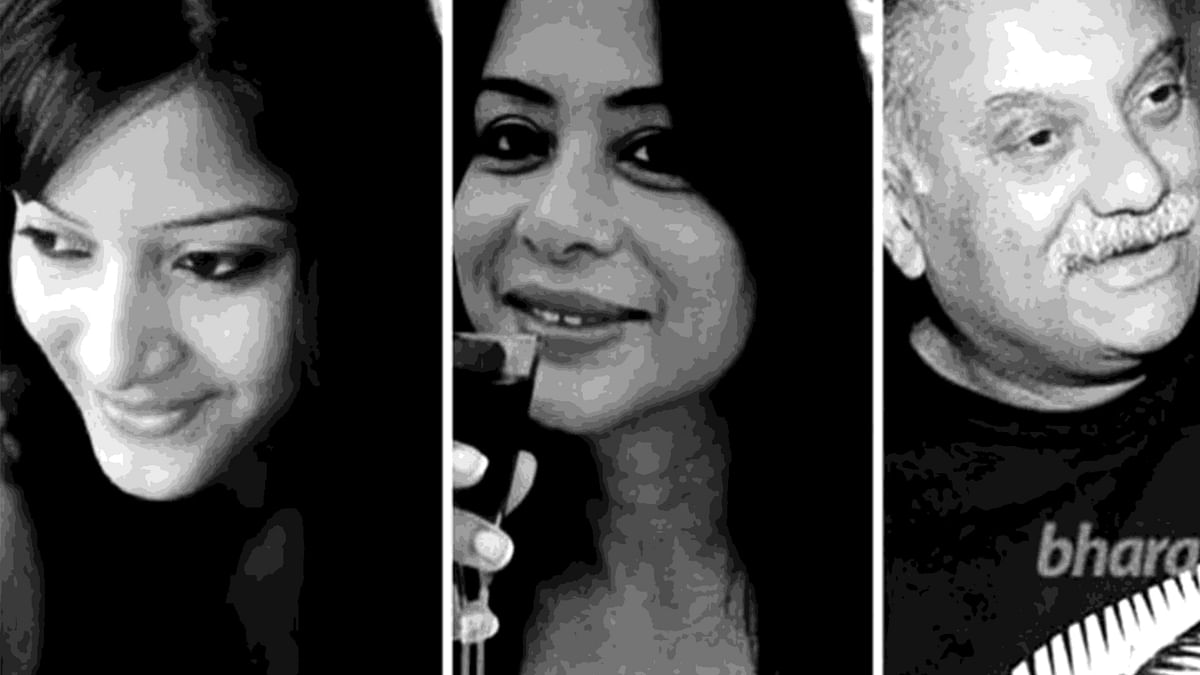 Sheena Bora (left), Indrani Mukerjea (centre), and Peter Mukerjea (right).