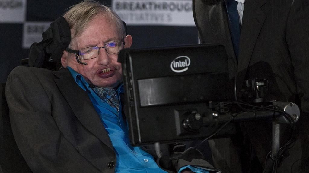 Professor Stephen Hawking speaks at a media event to launch a global science initiative at The Royal Society in London.