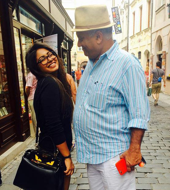 """Peter Mukerjea (R) with his adopted daughter Vidhie. (Photo: <a href=""""http://www.thequint.com/india/2015/08/25/indrani-mukerjea-wife-of-former-star-tv-ceo-arrested-for-murder"""">facebook.com/IndraniMukerjea</a>)"""