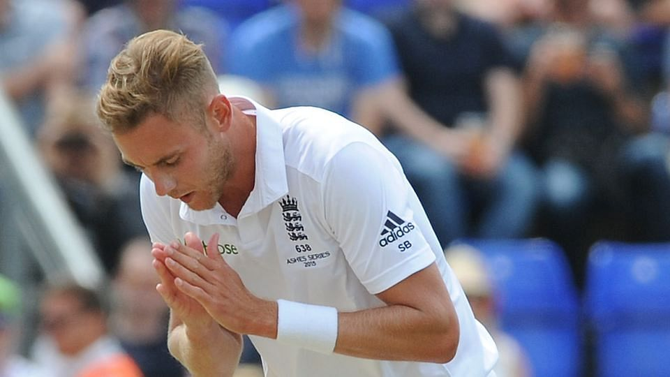 Stuart Broad takes a bow after taking a wicket on day two of the fourth Ashes Test cricket match, at Trent Bridge, Nottingham, England. (Photo: AP)