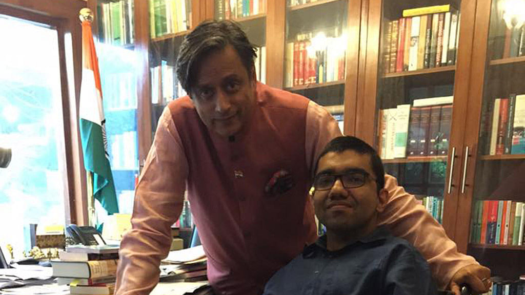 "Activist Nipun Malhotra with Congress MP Shashi Tharoor. (Courtesy: <a href=""https://www.facebook.com/nipunmalhotra87?fref=photo"">Nipun's Facebook Page</a>)"