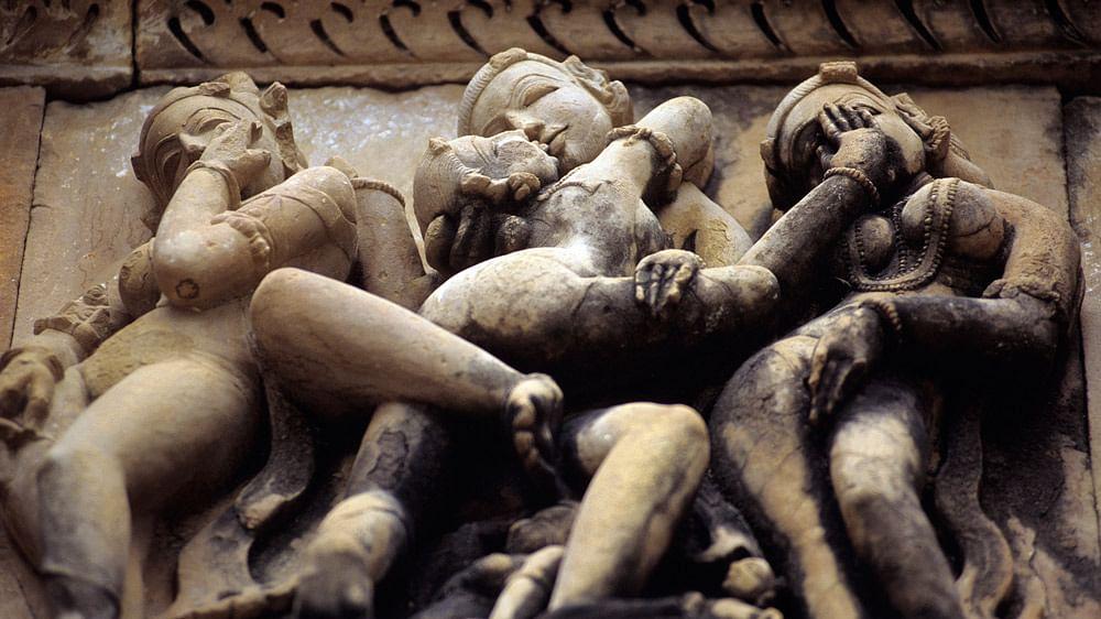 Erotic sculptures at the temple in Khajuraho. (Photo: iStock)