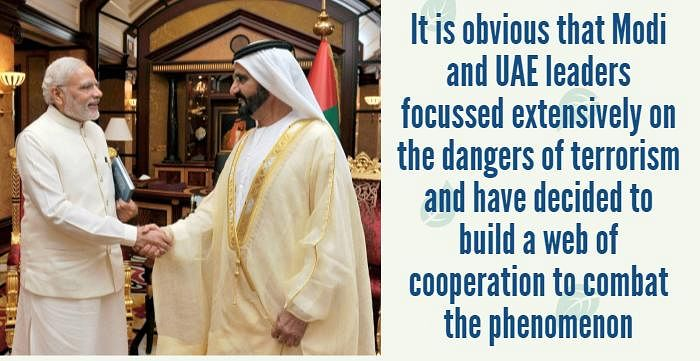 Prime Minister, Narendra Modi during a meeting with the Vice-President and Prime Minister of UAE, H H Mohammed bin Rashid Al Maktoum, August 17, 2015. (Photo: PTI)