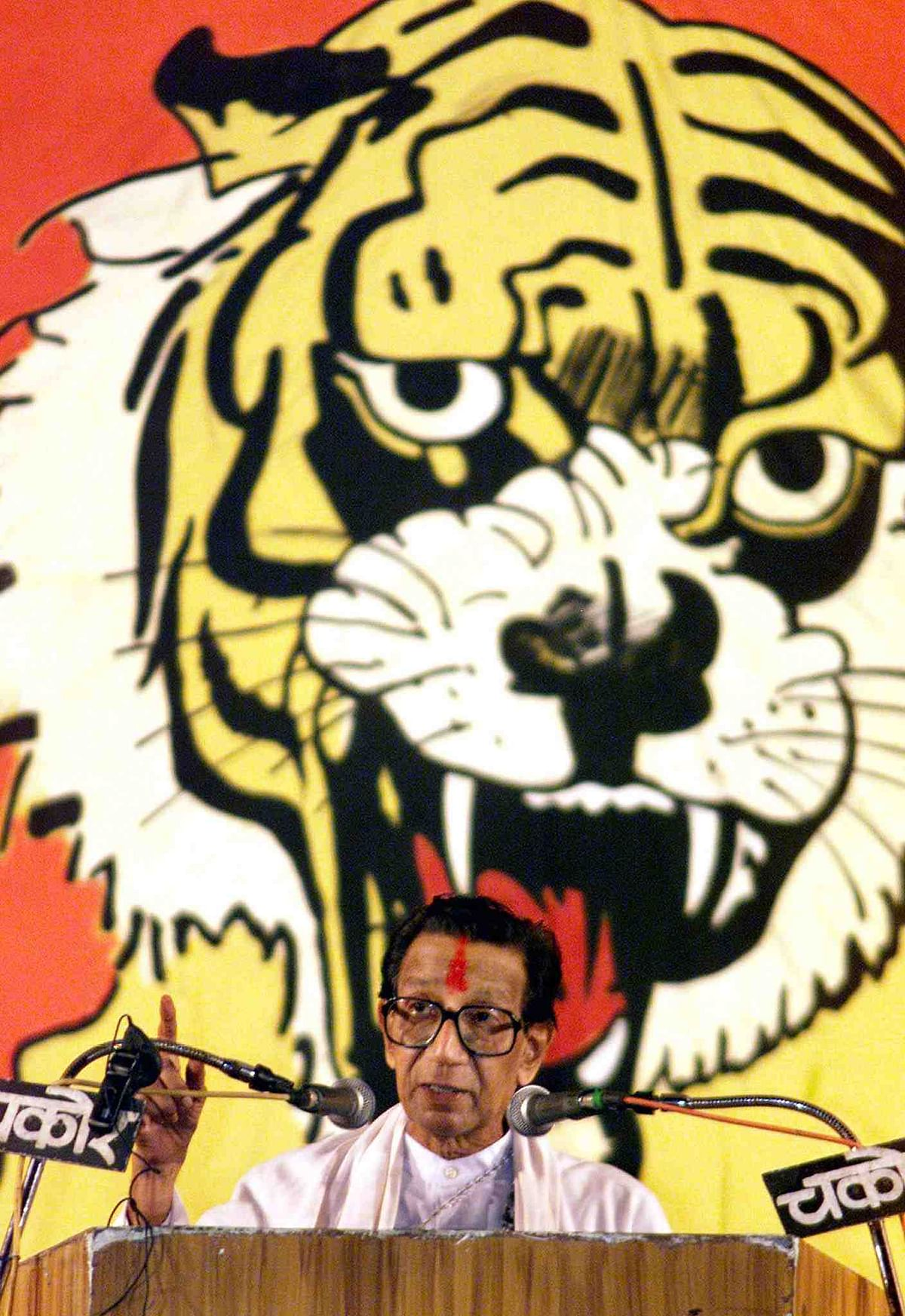 A file photo of Bal Thackeray addressing a rally in 2002.